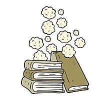 cartoon stack of books Photographic Print