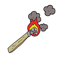 cartoon burning wood torch Photographic Print