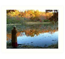 Fall Scenics over the Lake, Garrett Mountain Reservation, Woodland Park, Passaic County NJ Art Print