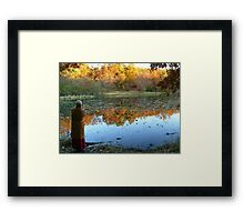 Fall Scenics over the Lake, Garrett Mountain Reservation, Woodland Park, Passaic County NJ Framed Print