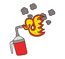 cartoon blow torch Photographic Print
