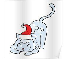 cartoon cat wearing christmas hat Poster