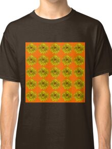 Yellow Flowers on Orange Background Classic T-Shirt