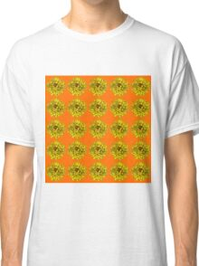 Yellow Flowers on Orange Background Classic T-Shirt