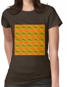 Yellow Flowers on Orange Background Womens Fitted T-Shirt