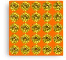 Yellow Flowers on Orange Background Canvas Print