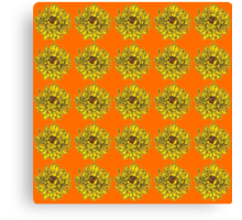 Yellow Flowers on Orange Background Canvas Print