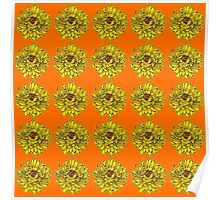 Yellow Flowers on Orange Background Poster