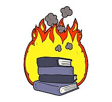 cartoon stack of books burning Photographic Print