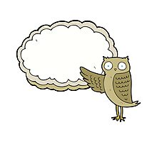 cartoon owl pointing Photographic Print
