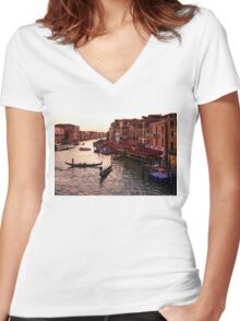 Impressions Of Venice - Warm Dusk and Gondolas on the Grand Canal  Women's Fitted V-Neck T-Shirt