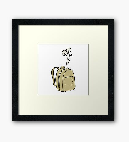 cartoon rucksack Framed Print