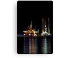 Oil Rig At Night Canvas Print