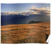 09-03-14 - Sunbeams on Hurricane Hill and Mount Carrie, Olympic National Park, Washington Poster