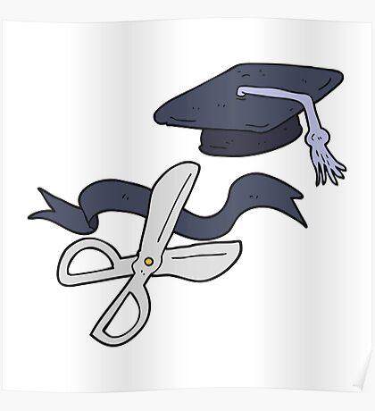 cartoon scissors cutting ribbon at graduation Poster