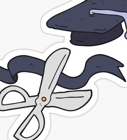 cartoon scissors cutting ribbon at graduation Sticker