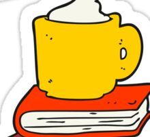 cartoon books and coffee cup under Learn symbol Sticker