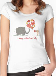 Elephant and Mouse Story of Love Valentine 2017 T-Shirt Women's Fitted Scoop T-Shirt