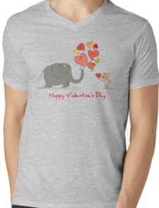 Elephant and Mouse Story of Love Valentine 2017 T-Shirt Mens V-Neck T-Shirt