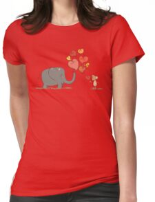 Elephant and Mouse Story of Love Valentine 2017 T-Shirt Womens Fitted T-Shirt