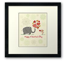 Elephant and Mouse Story of Love Valentine 2017 T-Shirt Framed Print