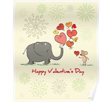 Elephant and Mouse Story of Love Valentine 2017 T-Shirt Poster