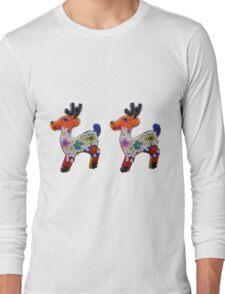 2 rennes du Père Noël, perles à repasser, déco Long Sleeve T-Shirt