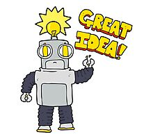 cartoon robot with great idea Photographic Print