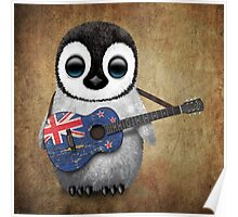Baby Penguin Playing New Zealand Flag Guitar Poster