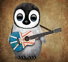 Baby Penguin Playing Newfoundland Flag Guitar by Jeff Bartels