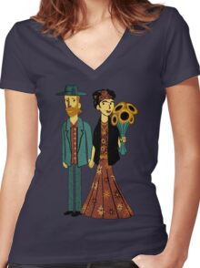 Love is Art Frida Kahlo and Van Gogh Women's Fitted V-Neck T-Shirt