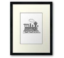 Steam train graphic full steam ahead Framed Print