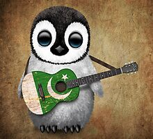 Baby Penguin Playing Pakistani Flag Guitar by Jeff Bartels