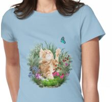 Ginger kitty playing with a butterfly Womens Fitted T-Shirt