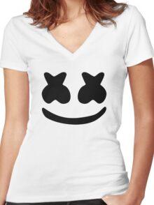 Marshmello Black Women's Fitted V-Neck T-Shirt