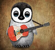 Baby Penguin Playing Peruvian Flag Guitar by Jeff Bartels