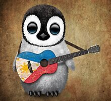 Baby Penguin Playing Filipino Flag Guitar by Jeff Bartels