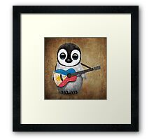 Baby Penguin Playing Filipino Flag Guitar Framed Print