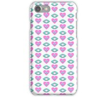 Romantic love pink and blue hearts pattern print iPhone Case/Skin