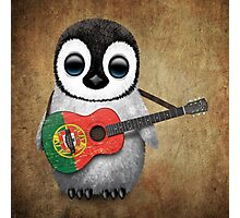 Baby Penguin Playing Portuguese Flag Guitar Photographic Print