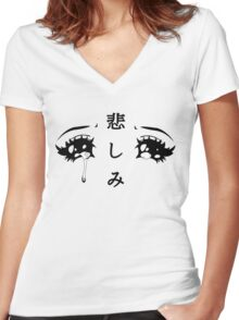 Anime Eyes Women's Fitted V-Neck T-Shirt