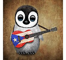 Baby Penguin Playing Puerto Rico Flag Guitar Photographic Print