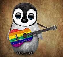 Baby Penguin Playing Gay Pride Rainbow Flag Guitar by Jeff Bartels
