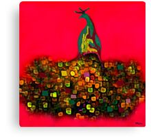 Peacock Fantasy Red Canvas Print