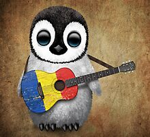 Baby Penguin Playing Romanian Flag Guitar by Jeff Bartels