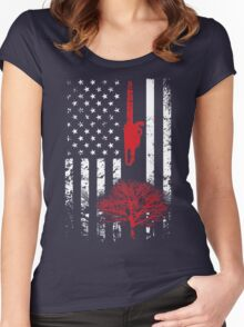 Arborist American Flag USA T-Shirt Women's Fitted Scoop T-Shirt