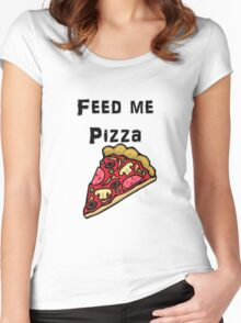 Iskybibblle Products / Feed me Pizza/ Black Women's Fitted Scoop T-Shirt