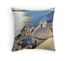 Graceful Standpoint of Santorini Throw Pillow