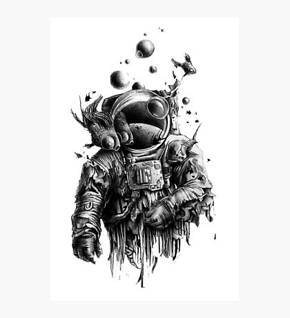 Undead astronaut floating in space Photographic Print