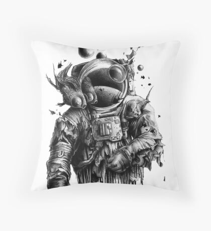 Undead astronaut floating in space Throw Pillow
